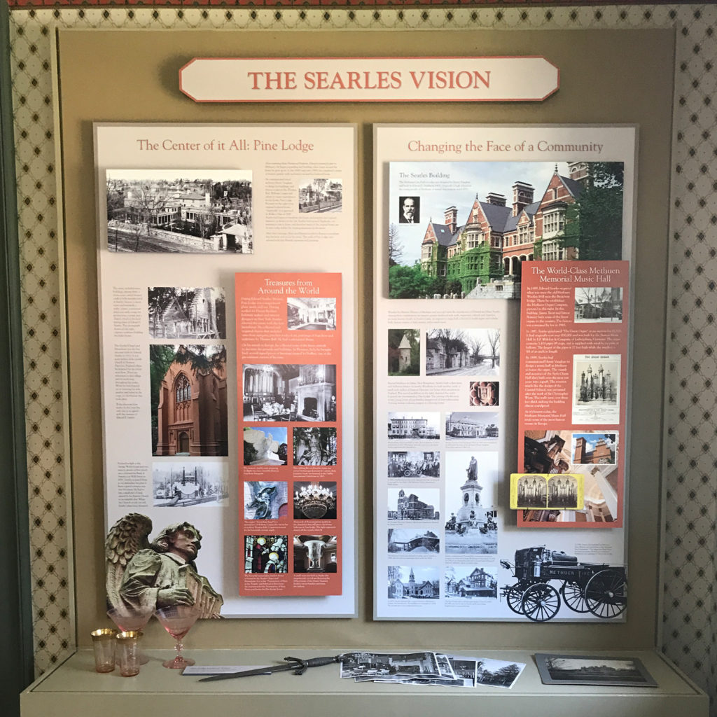 A display at the Methuen Museum of History features personal artifacts and photographs that highlights the contributions of Edward Searles to Methuen.
