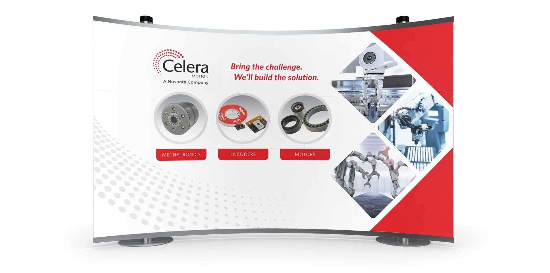A 10x10 pop-up trade show graphic was designed and produced by The Simon Group for Celera Motion.