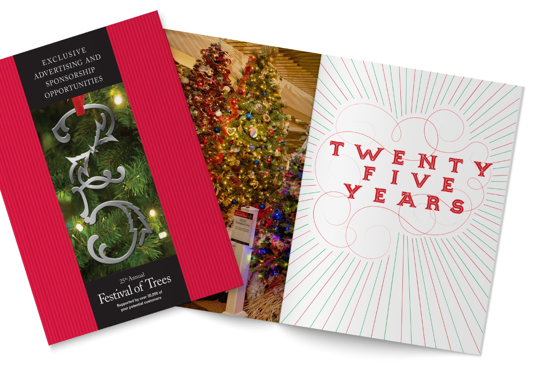 A custom booklet highlighted the history, mission, and key sponsorship opportunities for the Festival of Trees .