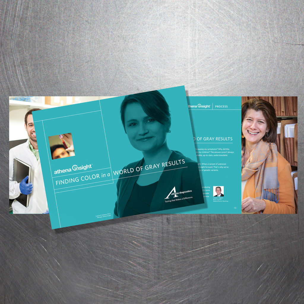 An Athena Diagnostics direct mail piece informs physicians and genetic counselors about their advanced diagnostic testing options for neurological diseases.