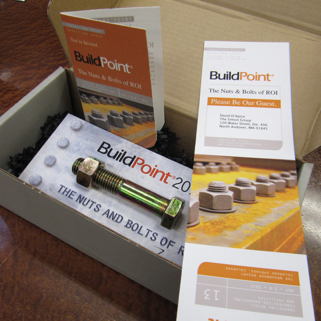 An integrated direct mail piece includes a personalized welcome letter, invitation, and giveaway for the BuildPoint 2.0 tradeshow.