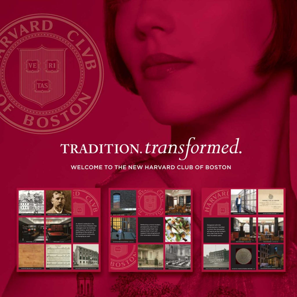 The Harvard Club of Boston launches a new brand identity, puncuated by the crisp Maroon color that the University is known for.