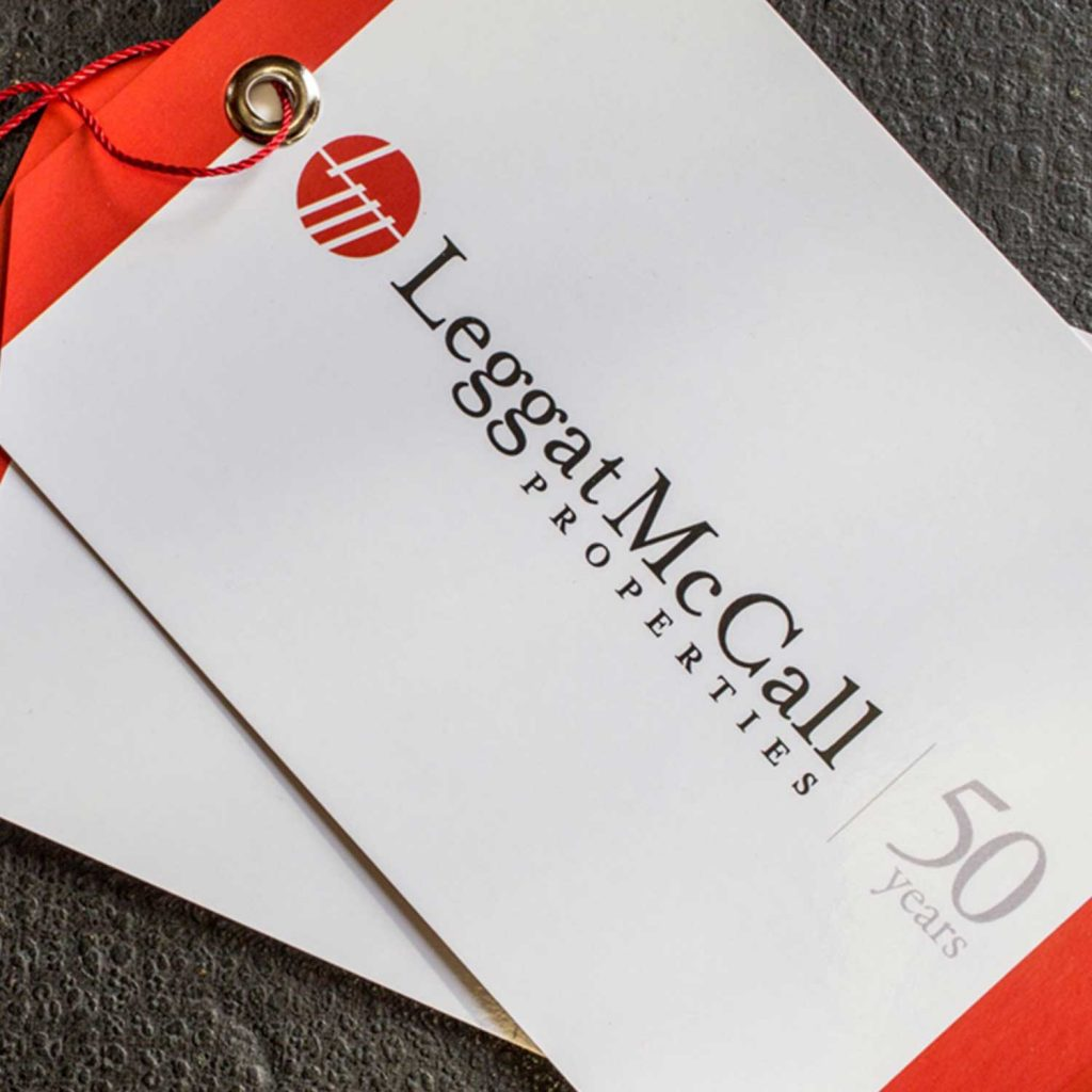 Leggat McCall Properties celebrates their 50-year history with custom gift tags.