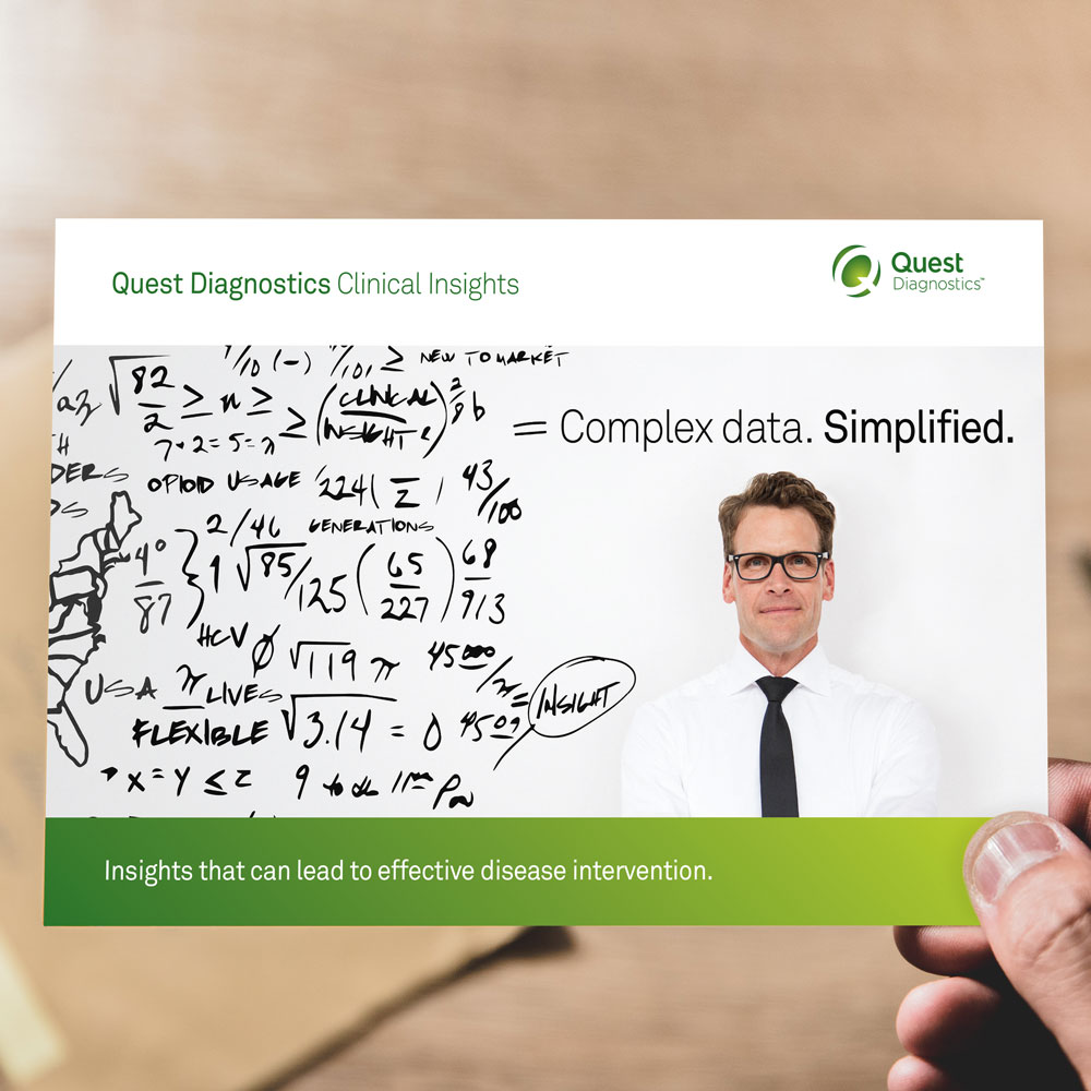 A direct mail piece for Quest Diagnostics Clinical Insights is delivered.