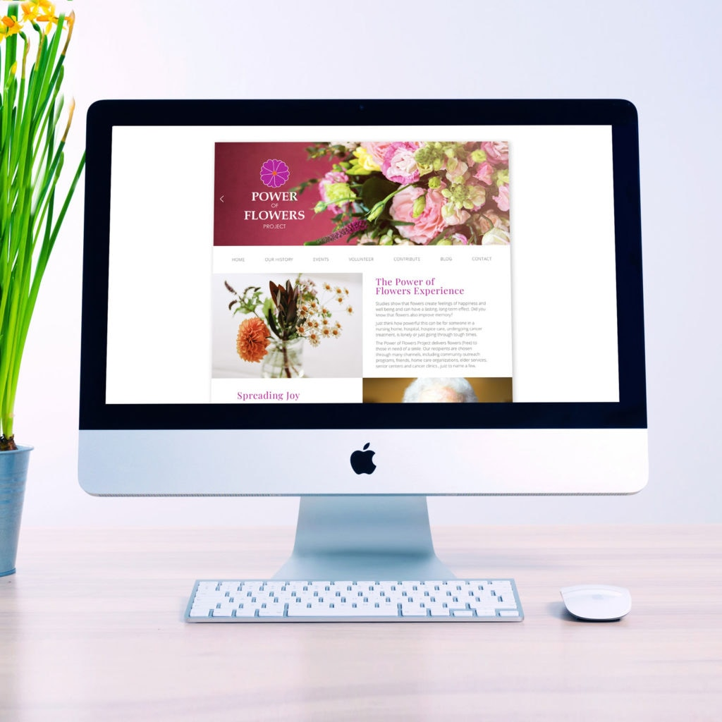 A sleek, modern web design for the Powers of Flowers organization.