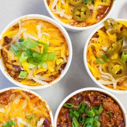 Cups of chili adorn the lunch table in the employee cafeteria at The Simon Group.